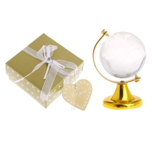 Mini Round Earth Globe World Map Crystal Glass Clear Stand Desk Decor Gifts