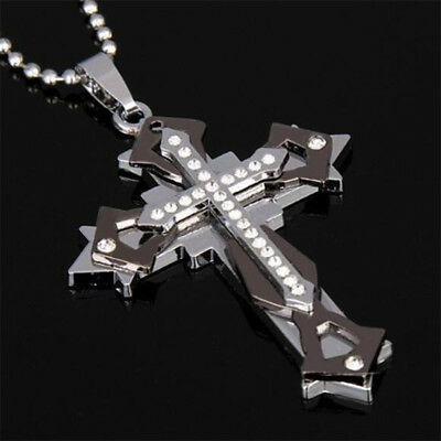 Cross Pendant Necklace Stainless Steel Ball Chain Crystal for Man Boy Crucifix - Boys Cross Necklace