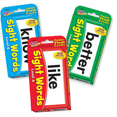 TREND kids childrens SIGHT WORDS combo pack (Level A, B & C) Pocket Flash Cards