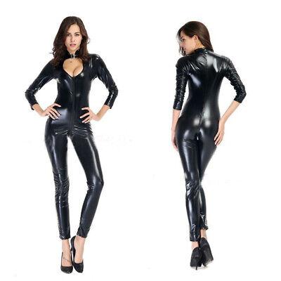 Black Latex Sexy Catsuit Costumes Lingerie Cat Suits Club Wear Free Size, XL, XX