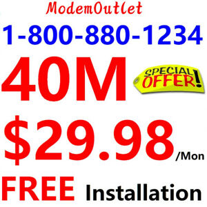 FREE installation , Unlimited 40M internet $30/mon, 60m $40/mon