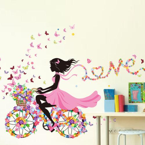 fahrrad blumen m dchen wandaufkleber wandsticker wandtattoo kinderzimmer deko eur 3 56. Black Bedroom Furniture Sets. Home Design Ideas