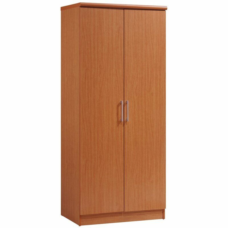 Hodedah 2 Door Wooded Armoire with 4 Shelves in Cherry Finish
