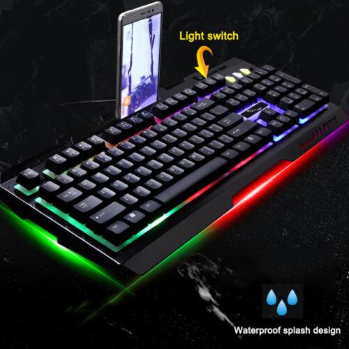 Gaming Tastatur und Maus Set Mit Beleuchtung USB LED Mechanische Gefühl Tastatur