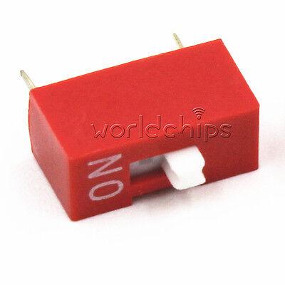 10pcs Red 2.54mm Pitch 1 Position Way 1-bit Slide Type Dip Switch Module