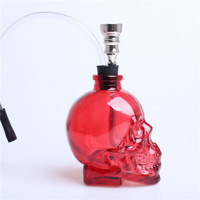 3.4''H Red Glass Bong Water Smoking Hookah Skull Shape Hookah Bubbler Pipes