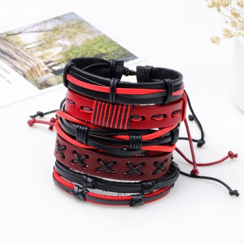 Men Women Punk Handmade Multilayer Leather Bracelet Braided Bangle Wristband Set