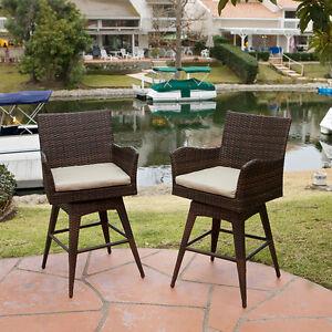 Set of 4 Outdoor Patio Furniture Brown PE Wicker Swivel Bar Stools w/ Cushions