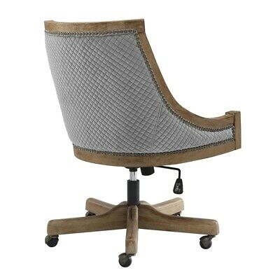 Linon Nikki Quilted Wood Upholstered Office Chair In Gray