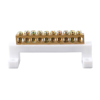 10 Holes Copper Neutral Bar Ground Terminal Row Distribution Cabinet Wire Screw