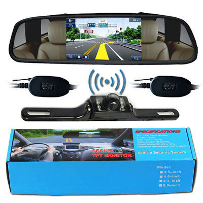 """Wireless Reverse Car Backup Camera With 4.3"""" Rear View Mirror Monitor"""