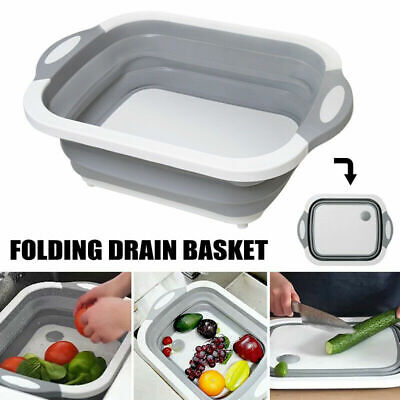 Chopping Board Folding Drain Basket Multi-Function 4 In 1 Sink Cutting Board Mat Chop Board