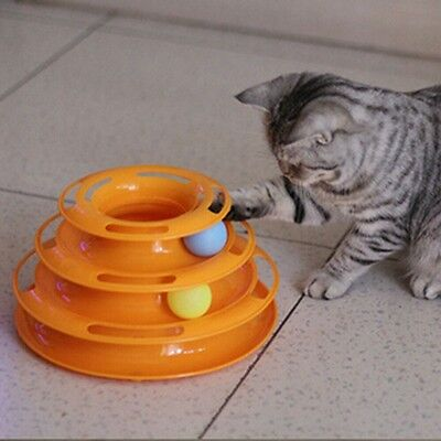 Kitty Pet Cat Funny Interactive Crazy Ball Disk Amusement Plate Trilaminar Toy