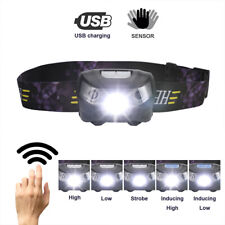 ❤60000lm LED HeadLamp Motion Sensor USB Rechargeable Head Lamp Headlight 5 Modes