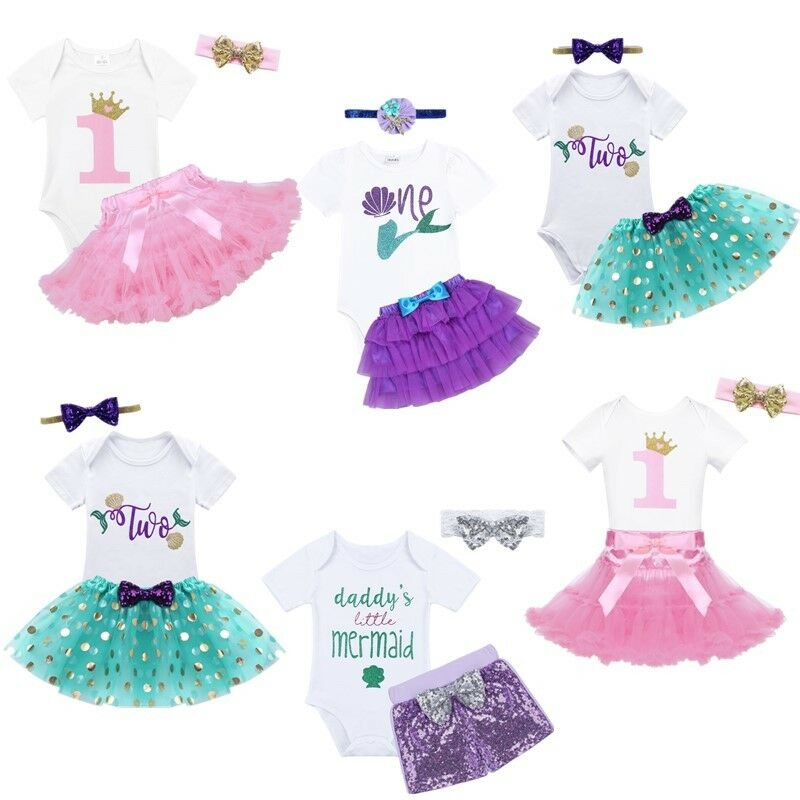 Baby Girls Cartoon T Shirt Romper Tutu Skirt+Headband+Shoes Party Dress Outfits