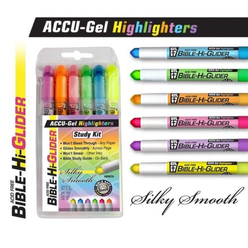Bible Highlighter Set Of 6 Translucent Gel Stick Pens Markers Study No Bleed New