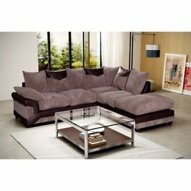 *COME AND VIEW IT ,TRY IT THEN BUY IT* BRAND NEW DINO JUMBO CORD CORNER SOFA BROWN/BEIGE FABRIC RH