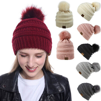 Winter Women  Beanie Hat Knitted Chunky Braid Style Pom Pom Ladies Faux Fur -