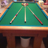 POOL TABLE with accessories.     $1000