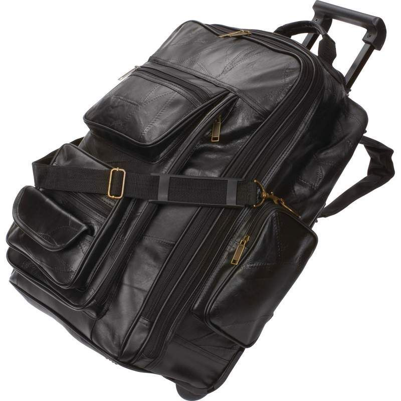 Leather Rolling Carry-On Trolley Backpack, Mens Treacherous Overnight Travel Suitcase