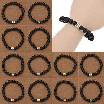 Men Black Lava Stone Zodiac Signs Bracelet Horoscope Taurus Scorpio Charms Gift