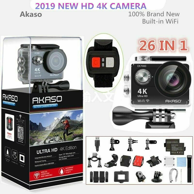 Akaso+EK7000+Black+Ultra+HD+4K+Sports+Action+Camera+Cam+12MP++Wifi+HDMI+2020+New