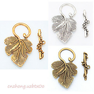Wholesale 10 Sets Silver/Gold/Brass Grape Leaf Toggle Clasps For Jewelry Making - Clasps For Jewelry Making