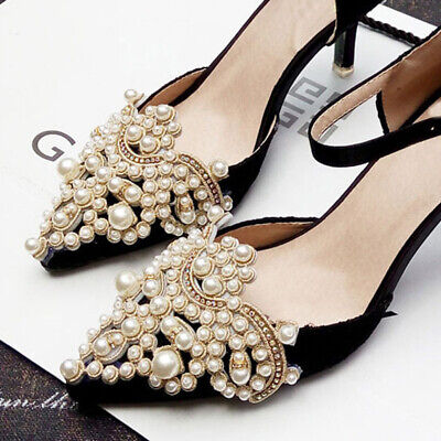 2Pcs Pearl Rhinestones Flower Shoe Clip Removable Pointed Shoes Accessories Pearl Shoe Clips