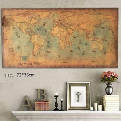 - Retro Nautical Ocean Sea World Map Old Art Paper Painting Wall Poster Home Decor