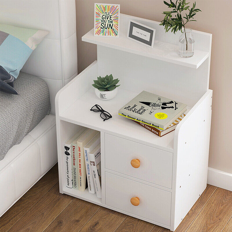 White Modern Bedside Table Cabinet Chest Of Drawers Bedroom Nightstand Unit Uk Ebay