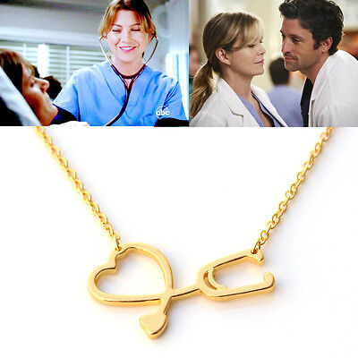 Free Shipping Grey's Anatomy inspired heart Stethoscope Necklace
