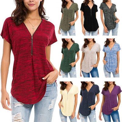 Women Cotton Loose Tops Short Sleeve Sexy Zip V Neck T Shirt Casual Blouse Shirt