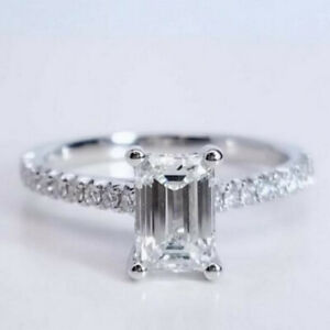0.50 Carat GIA Emerald Diamond Engagement Ring In 14k White Gold
