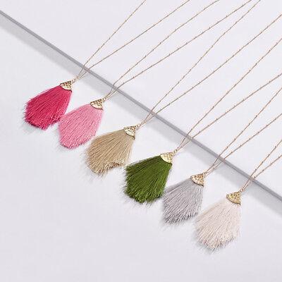 6 Colors Gold Long Link Chain Silk Fringe Tassel Pendant Chic Necklace For Women