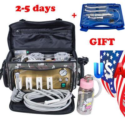 Portable Dental Turbine Unit Messenger Bag Air Compressor Syringe Handpiece Kit