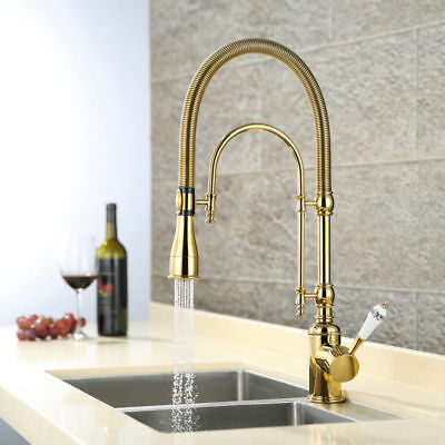 Splendid Gold Dual-Mode Pull-Down Kitchen Sprayer Faucet wit