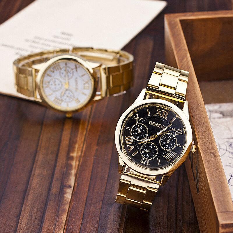 $2.88 - Luxury Geneva Ladies Women Girl Unisex Gold Stainless Steel Quartz Wrist Watch