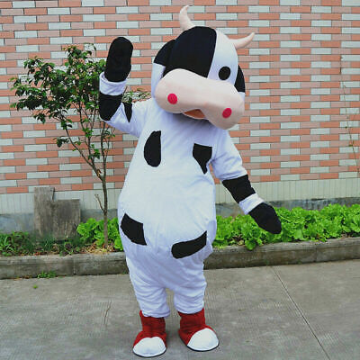 Cute Cow Mascot Adult Suit Costume Cosplay Parade Party Dress Outfit Adults Size](Cute Cow Costume)