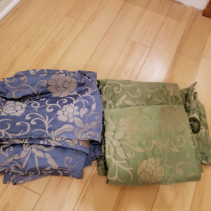 2 pair green and blue IKEA window curtain