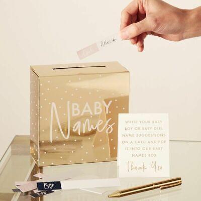 GOLD FOILED BABY NAMES BOX - Baby Shower Gender Reveal Party Suggestion Game  tweedehands  verschepen naar Netherlands