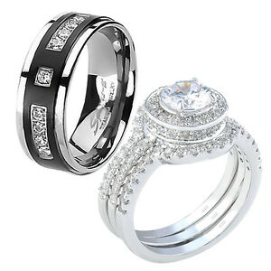 silver halo cz his black titanium wedding engagement ring band set