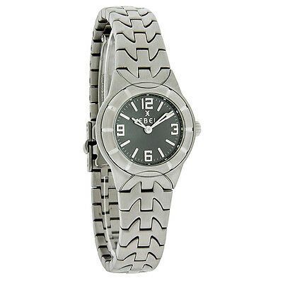 Ebel E-Type Mini Ladies 25MM Charcoal Dial Swiss Quartz Dress Watch 9157C11/3716