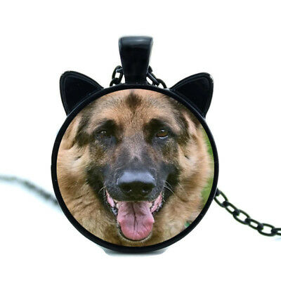 "German Shepherd Dog With Ears 21"" Black Tone Chain Pendant  Necklace In Gift Box"