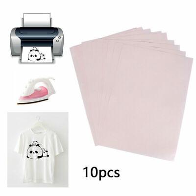 10 Piezas A4 Calor Prensa Papel Transfer Camiseta Planchar Tela Inkjet Impresora