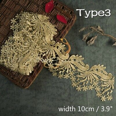 Lace Decorations (Vintage Gold Embroidered Lace Edge Trim Ribbon Costume Decor Applique DIY)