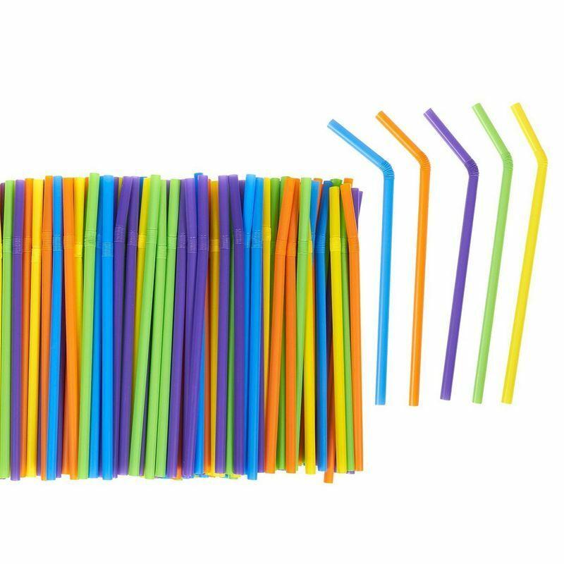 300pcs Flexible Plastic  Drinking Straws for Smoothie Bendy Birthdays Parties