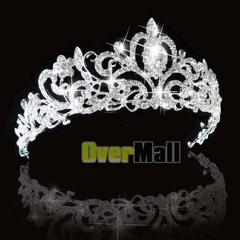 Girl Bridal Princess Stunning Crystal Tiara Wedding Crown Hair Band Headband