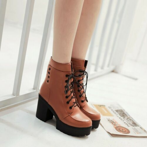 Details about  /Women Punk Round Toe Lace Up Ankle Boots Low Heel Casual Mid Calf Boots 34//43 D