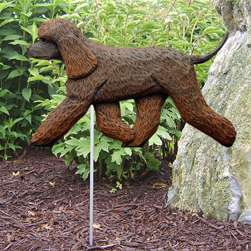 Irish Water Spaniel Outdoor Garden Dog Sign Hand Painted Figure