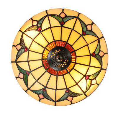 "Tiffany Ceiling Light Semi Flush Mount Fixture Stained Glass 10"" Bedroom Kitchen"
